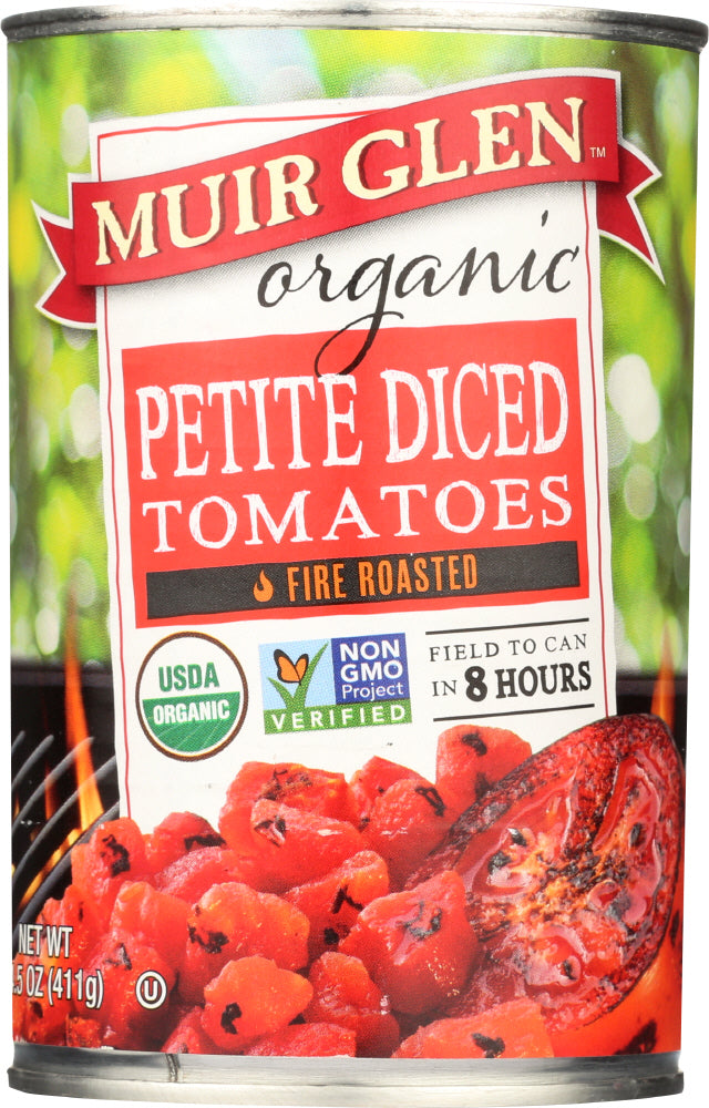Muir Glen: Tomato Fire Roasted Diced Petite, 14.5 Oz