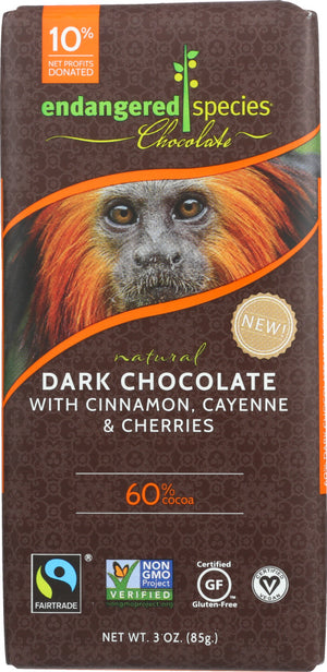 Endangered Species: Chocolate Natural 60% Dark Chocolate Bar Cinnamon Cayenne & Cherries, 3 Oz