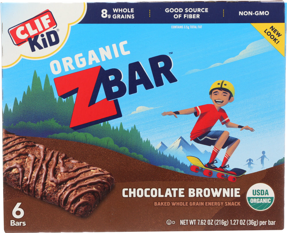 Clif Kid: Organic Zbar Chocolate Brownie 6 Bars, 7.62 Oz