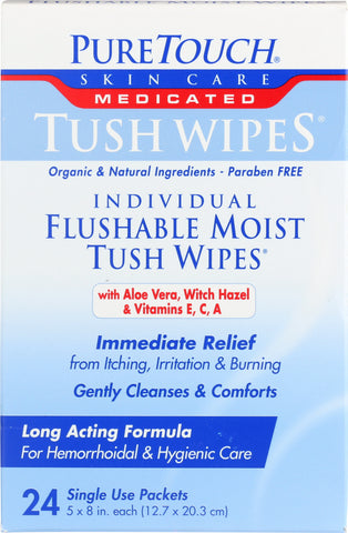 Puretouch Skin: Tush Wipes Medicated, 24 Ct