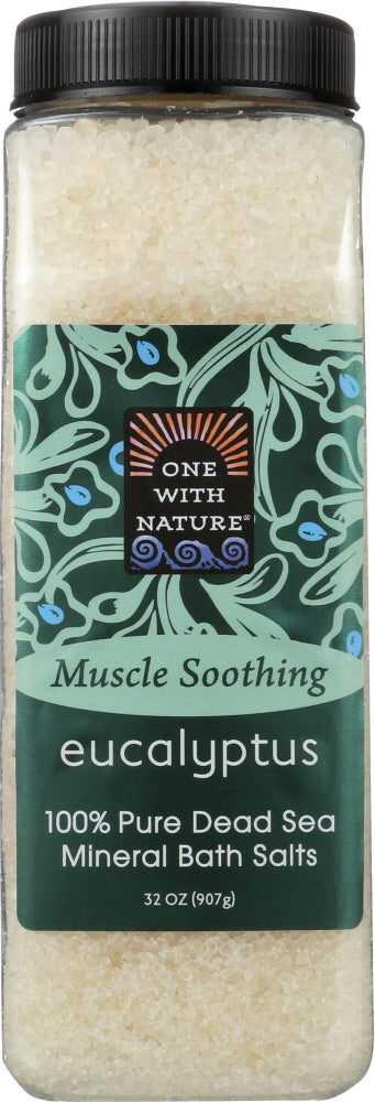 One With Nature: Mineral Bath Salts Eucalyptus, 32 Oz