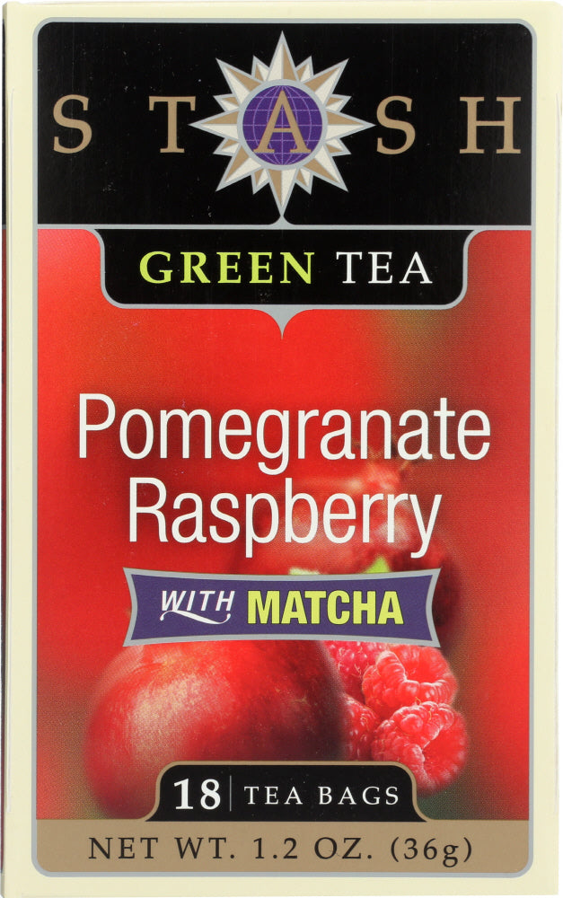 Stash Tea: Green Tea Pomegranate Raspberry With Matcha 18 Tea Bags, 1.2 Oz