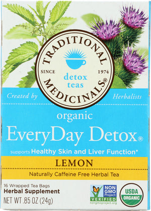 Traditional Medicinals: Organic Everyday Detox Lemon Caffeine Free Herbal Tea 16 Tea Bags, 0.85 Oz