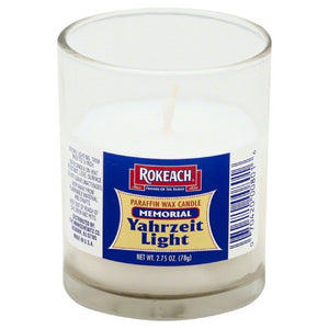 Rokeach: Memorial Paraffin Wax Candle Glass, 1 Ea