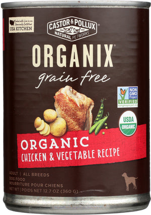 Castor & Pollux: Dog Food Can Organic Grain Free Chicken Vegetable, 12.7 Oz