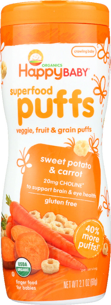 Happy Baby: Puff Sweet Potato Carrot Organic, 2.1 Oz