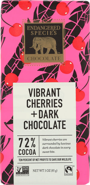 Endangered Species: Vibrant Cherries Dark Chocolate, 3 Oz