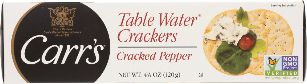 Carrs: Table Water Crackers Cracked Pepper, 4.25 Oz
