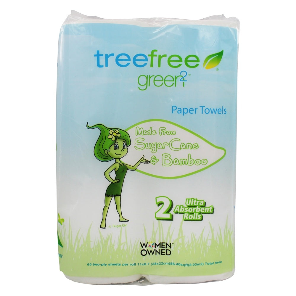 Green2: Tree Free Paper Towels 65 2ply Sheets, 2 Pc
