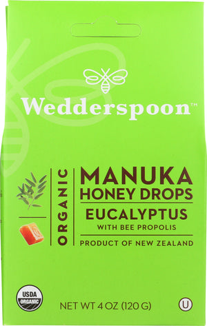Wedderspoon: Organic Manuka Honey Drops Eucalyptus, 4 Oz