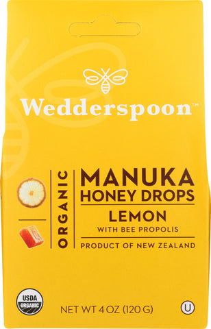 Wedderspoon: Organic Manuka Honey Drops Lemon, 4 Oz