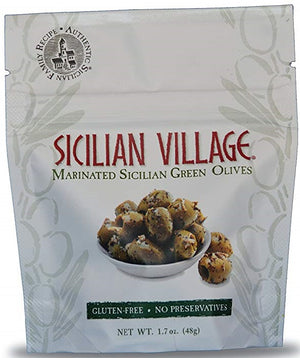 Sicilian Village: Olives Green Marinated, 1.7 Oz