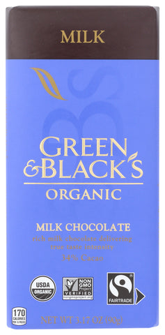 Green & Blacks: Organic Milk Chocolate Bar, 3.17 Oz