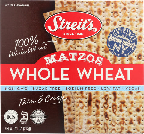 Streits: Whole Wheat Matzo, 11 Oz