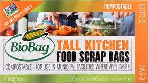 Biobag: Tall Kitchen 13 Gallon Food Scrap Bags, 12 Pc
