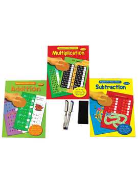 Maths Practice Books Write, Learn and Wipe (3 Books Set)