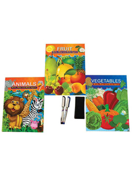 Activity Books Write, Learn and Wipe (3 Books Set) Animals, Fruits and Vegetable