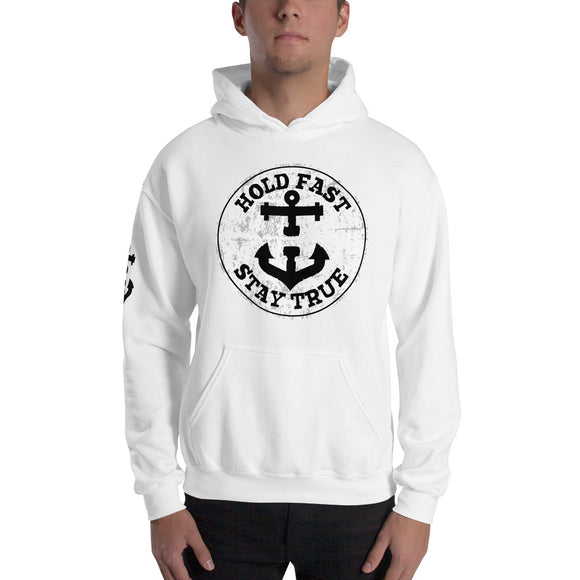 HOLD FAST brand Circle Crest White Hooded Sweatshirt