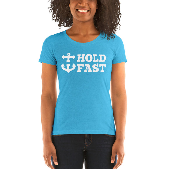 HOLD FAST brand Ladies' short sleeve t-shirt White font