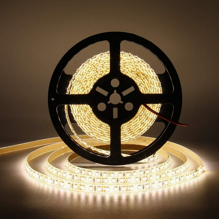 SUPERNIGHT 16.4ft Warm White 600 LEDs Strip Light, Waterproof Flexible 3500k LED Strip Lights for Garden/Home/Kitchen/Car/Bar/Christmas/Party/Indoor Decoration