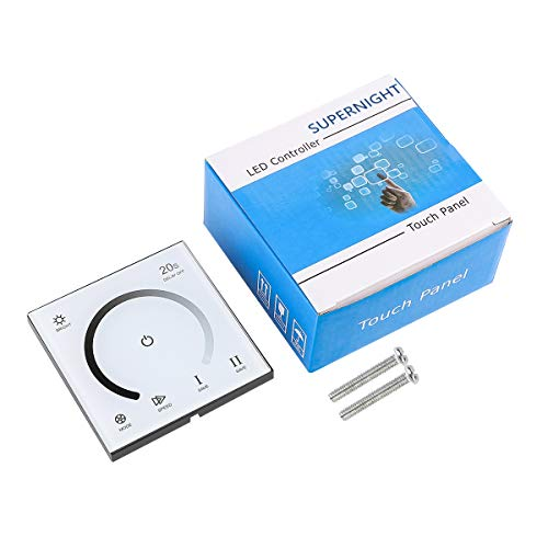 SUPERNIGHT LED Light Strip Dimmer, DC 12V-24V 30A PWM Dimming Controller for Dimmer Knob Adjust Brightness ON/OFF Switch with Aluminum Housing (Touch Dimmer)