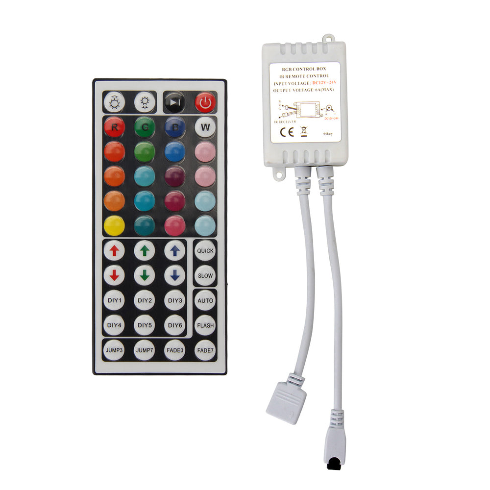 SUPERNIGHT 44 Key 2 Connectors Dual Connector Output IR Remote Controller 12V 2 Ports Dimmer for 3528 5050 RGB LED Strip Lights