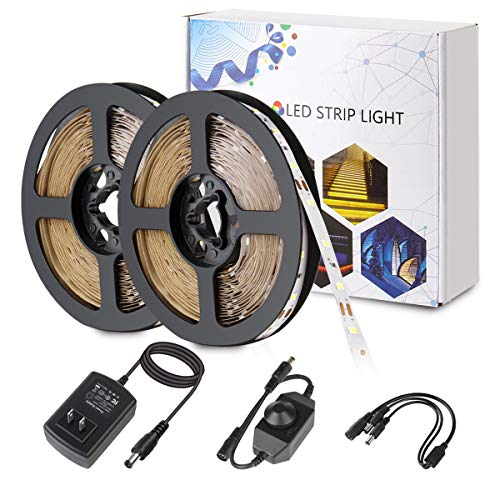 SUPERNIGHT 32.8ft Daylight White LED Strip Light Kit, Dimmable SMD2835 600LEDs 6500K Flexible LED Ribbon Strip With DC12V 3A UL Listed Power Supply and Brightness Controller For Under Cabinet Mirror Home