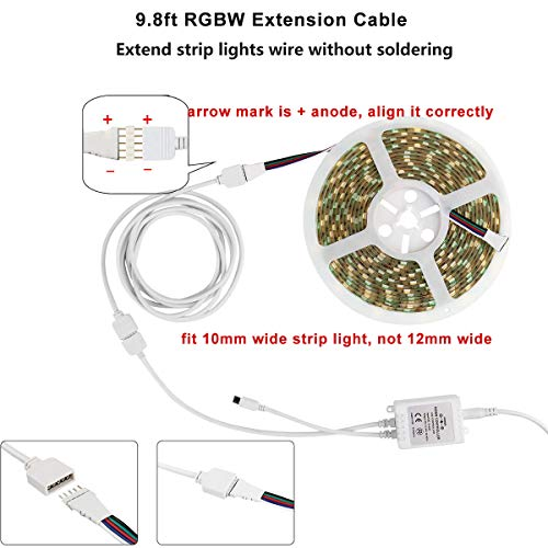 5PIN LED Strip Connector Kit - 10mm 5050 RGBW LED Connector Kit Include 9.8FT Extension Cable, Strip to Strip Jumper, Strip to Power Jumper, 2 Way Splitter, L Shape Connector, Gapless Connectors