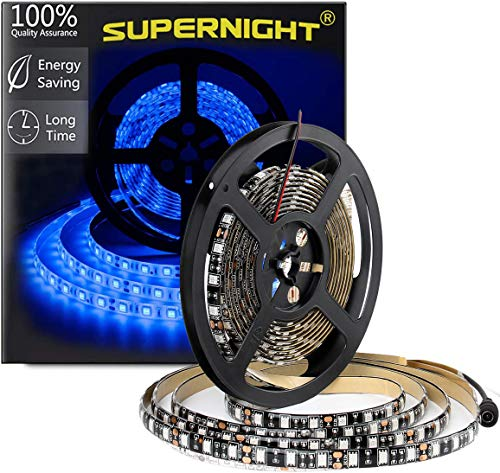 SUPERNIGHT Blue LED Strip Lights Waterproof, 16.4ft 300leds SMD 5050 Flexible Rope Lighting Tape for TV Backlighting, Room, Mother's Day, Christmas (Black PCB )