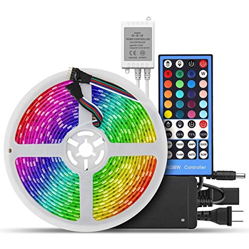 SUPERNIGHT LED Strip Lights, 16.4ft RGBWW LED LED Lighting Strip Kit, Flexible SMD5050 300LEDs Multicolor Waterproof 5m LED Light Strip+Mini Wireless Music IR Remote Controller + 12V Power Supply