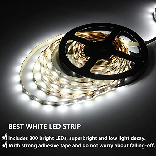 SUPERNIGHT Daylight White LED Strip Light Non-Waterproof, SMD2835 Flexible 16.4Ft 6500K White Tape Light for Cabinets, Vanity Mirror, Christmas Party, DIY Decor