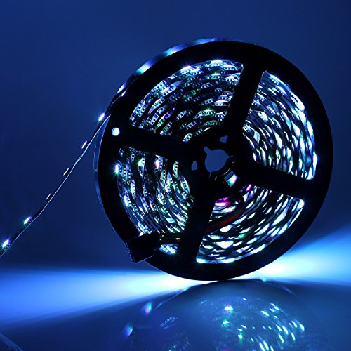 SUPERNIGHT 16.4FT 5M 5050 300LEDs IP65 Waterproof Flexible LED Strip Light Black PCB LED Lighting Strip for Home Outdoor Seasonal Decorative Lighting (Cool White Color)