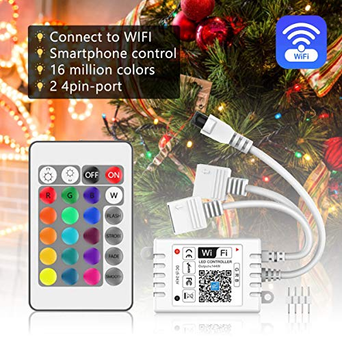 SUPENRIGHT 2-Port WiFi RGB LED Controller DC5-28V with 24 Key Remote Control,Wireless Smart Controller Dual Port for 3528 5050 RGB Light Strips,Android,iOS System,Compatible with Alexa Google Home IFTTT