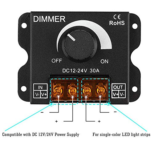 SUPERNIGHT LED Light Strip Dimmer, DC 12V-24V 30A PWM Dimming Controller for Dimmer Knob Adjust Brightness ON/OFF Switch with Aluminum Housing, Single Channel for 5050 3538 Single Color Tape