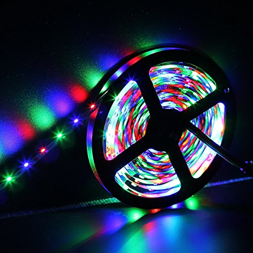 SUPERNIGHT 5M/16.4 Ft SMD 3528 RGB 300 LED Color Changing Kit with Flexible Strip Light+24 Key IR Remote Control+ Power Supply