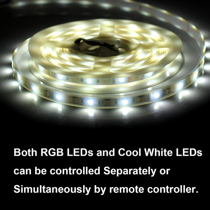 SUPERNIGHT RGBW LED Strip - RGB + Cool White Waterproof IP67 with Silicone Cover Tube Protection, 16.4ft 5050 300leds Flexible Rope TV Lighting with 40Key IR Remote Controller and 12V Power Adapter