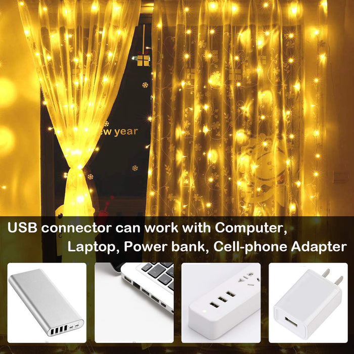 SUPERNIGHT LED Curtain Lights, Newest Window Curtain Twinkle Lights Warm White for Bedroom, Wedding, Parties, Christmas and Decorations (9.8 x 9.8 ft, 300LEDs, 8 Modes)