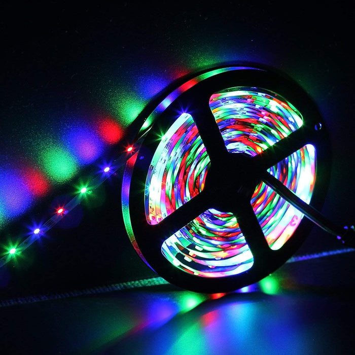 SUPERNIGHT 32.8Ft RGB 3528 SMD 600LEDs Strip Light Kit Non-waterproof, with 12V 5A Power Supply and 44 Key Remote Controller