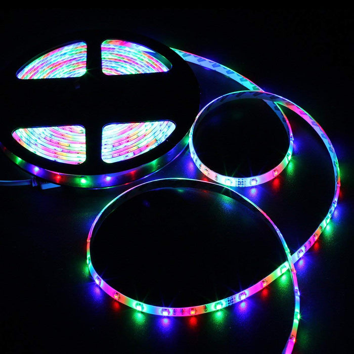 SUPERNIGHT LED Strip Lights Kit Waterproof ¨C TWO 16.4ft 600 LEDs SMD 3528 RGB Light with 44 Key Remote Controller, Extra Adhesive Tape, Flexible Changing Multi-Color Lighting Strips for TV, Room