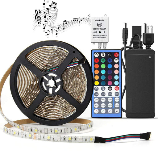 SUPERNIGHT 16.4ft 300leds RGBW (RGB+White) LED Light Strip Kit, Waterproof Color Changing Rope Lights, with 12V Power Adapter and Music Voice Sensor Remote Controller