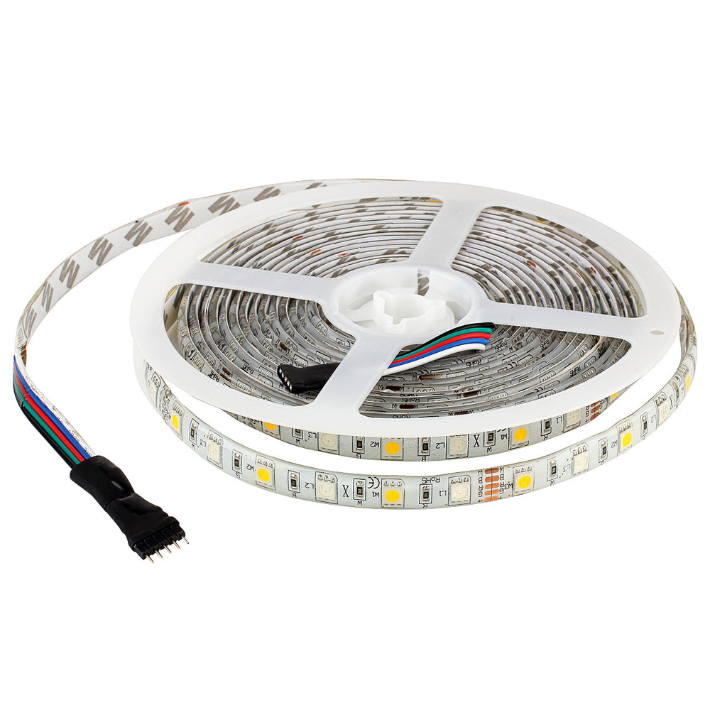 SUPERNIGHT 16.4ft 5050 Waterproof 300leds RGBWW Flexible LED Strip Light Lamp + 40Key IR Remote Controller - White Roll