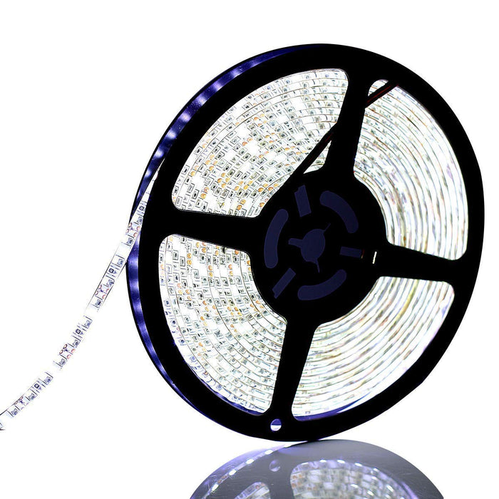 SUPERNIGHT 16.4ft 600leds Cool White LED Light Strip, Waterproof SMD 3528 Flexible Tape Cold White Rope Lighting Decorate for Bedroom TV Backlighting Boat Car Halloween Christmas Party