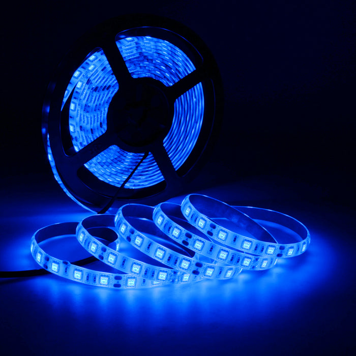 SUPERNIGHT Flexible 16.4ft 5M 300LEDs SMD 5050 Led Strip Light IP65 waterproof – Color: Blue