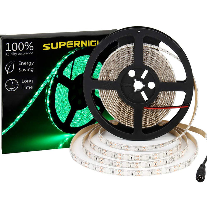 SUPERNIGHT 600 LEDS Light Strip Waterproof, 16.4FT Green LED Rope Lighting Flexible Tape Decorate for Bedroom Boat Car TV backlighting Holidays Party