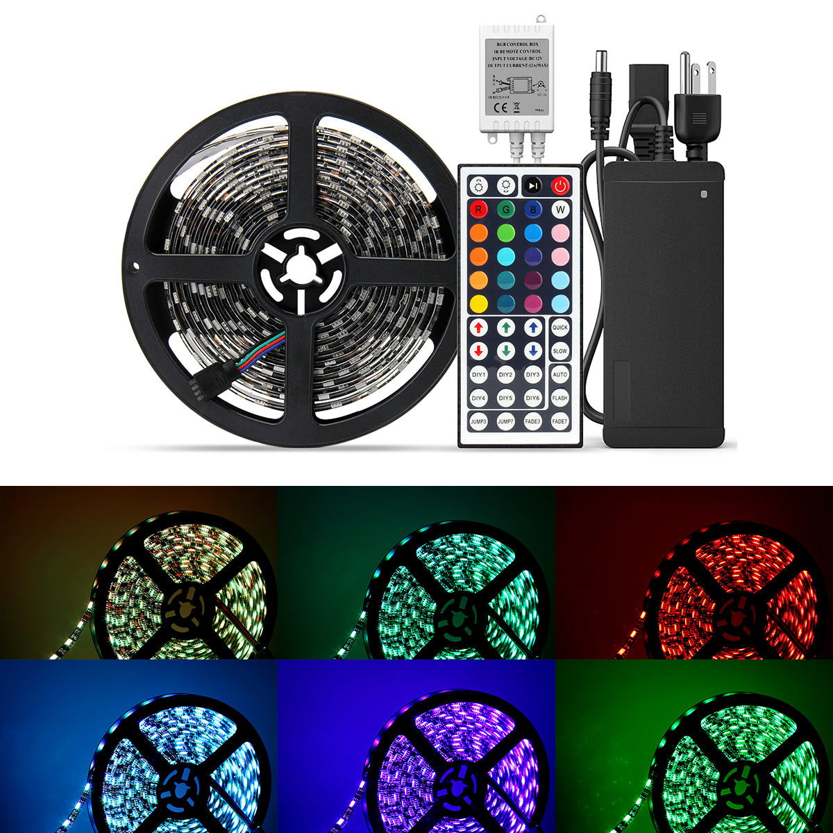 SUPERNIGHT Waterproof 5050 LED Strip Light - Black PCB 16.4ft 300leds Rope Lights with Remote Controller and 12V Power Adapter, Festival Lighting for Bedroom,Kitchen,Boat,TV,Indoor Decoration