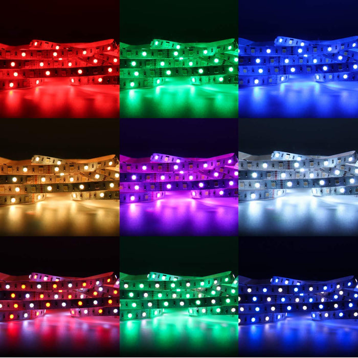 SUPERNIGHT LED Light Strip, [White, RGB, RGB+White Color, All in One Strip] Flexible 16.4ft SMD5050 DC12V 300Leds RGBW LED Rope Light Strip 40Keys IR Controller & Power Home Indoor Decoration