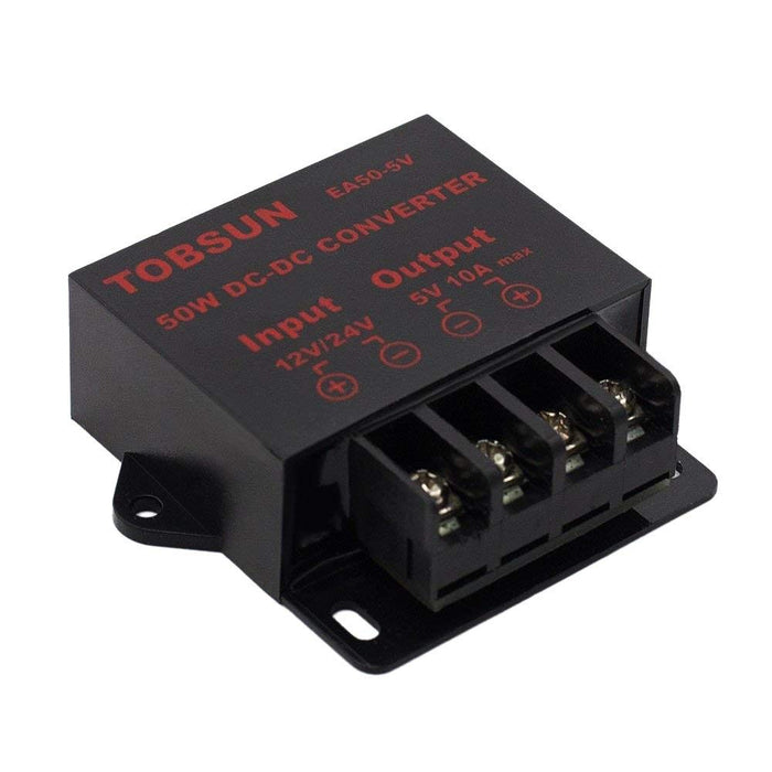 SUPERNIGHT DC 12V 24V to DC 5V 10A 50W Converter Regulator 5V 50W Power Supply Step Down Module Transformer