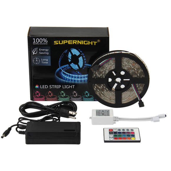 SUPERNIGHT 16.4ft 5M Waterproof Flexible 300leds Color Changing RGB SMD5050 LED Light Strip Kit RGB 5M +24Key Remote+12V Power Supply