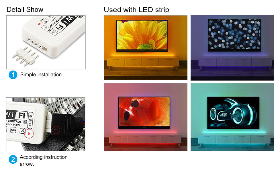 SUPERNIGHT LED WiFi Controller SUPERNIGHT DC5-28V Smart Controller Working with Android/iOS System Mobile Phone APP for 3528 5050 LED RGB Light Strip with Music/Timing and Custom Mode Function
