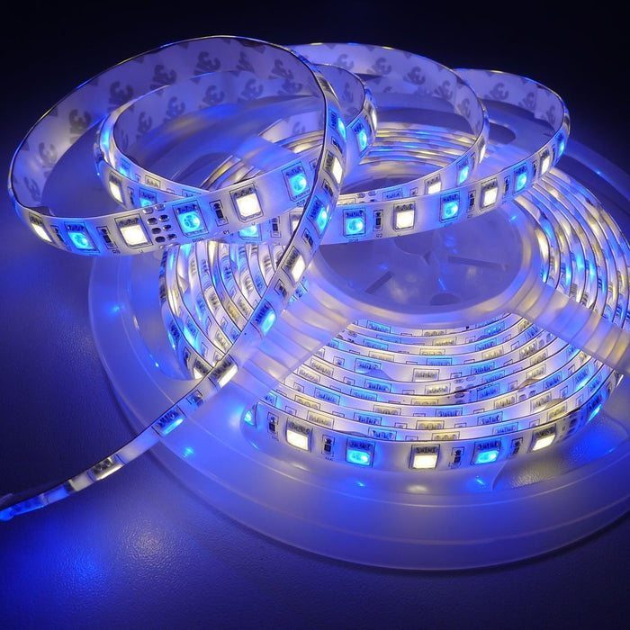 SUPERNIGHT 16.4Ft RGBW 5050 SMD 300LEDs Strip Light kit Waterproof, with 12V 5A Power Supply and 40 Key RGBW Remote Controller